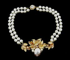 MIRIAM HASKELL DOUBLE STRAND PEARL NECKLACE
