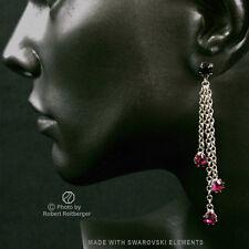 Ohrhänger mit 4 Swarovski Kristallen Farbe: Fuchsia / Schwarz