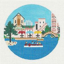 """""""River Walk"""" in San Antonio, Texas  HP Needlepoint Canvas 4"""" Rd. by Painted Pony"""