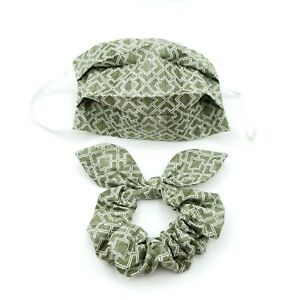 Christmas Face Mask and Scrunchy Set Hair Scrunchies with Bow Green Face Cover