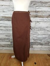 Hairston Roberson Ropa Womens Midi Pencil Skirt Brown Brass Decor Size 14
