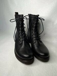 Frye Veronica Black Leather Combat Ankle Boots Size 8.5