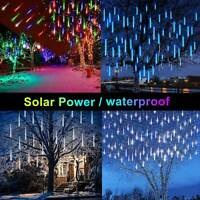 Solar LED Meteor Shower Lights Waterproof Falling Rain Icicle Outdoor Xmas Decor