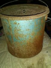 Vintage Metal Minnow Bucket Rusty And Blue
