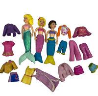Fashion Polly Pocket Dolls And Rubber Clothes Bundle Bulk Lot Disney Mermaids