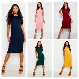 Sexy Ladies Cap Sleeve Midi Dress Womens Bodycon Summer Maxi Midi Dress Plus