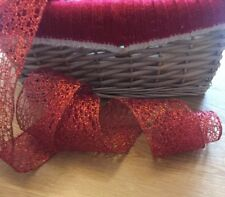 """Wired Christmas Ribbon Red Mesh ~ 6.3cm/2.5"""" Wide ~ Bows, Wreaths, Xmas Tree"""