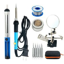 5pcs Electric Soldering Iron Kit,Magnifier Station,Solder Wire,Desoldering Pump,