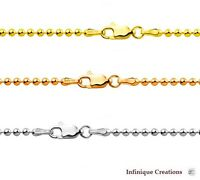 14k Gold Over 925 Sterling Silver Smooth Italian BALL BEAD Chain Necklace 1,8mm