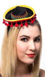 Black Mexican Sombrero Mini Costume Headband Hat Genuine Axiz - New
