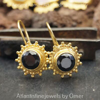 925 Sterling Silver Fine Granulated Onyx Earrings Sun Collection 24k Gold Plated