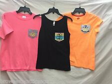 """Logan"" Stitch Monogram Pocket Shirt Pink & Orange Youth L & XL Black Ladies S"