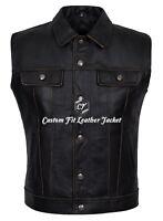 Men's Trucker Distressed Sleeveless Jacket Leather Western Waistcoat Style 1280
