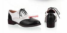 Women's Vintage Low Heel Wingtip Lace Up Oxfords Brogues Preppy Shoes All UK Sz
