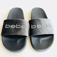 59e557c4dd8 Bebe Logo Grey Rhinestone Slides Crystal Gray Velvet Sandals 6 7 9