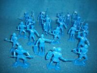 Marx Reissue 1/32nd scale 2nd Issue armored knights and horses 21 pcs. (Blue)