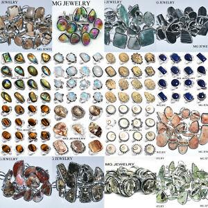 Labradorite Amethyst Moonstone & Mix Gemstone Lot 925 Silver Plated Rings