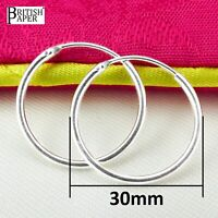 Pair 30mm Solid 925 Sterling Silver Hoop Sleeper Earrings Nose Clip Stud On Ring