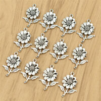 10X Sunflower Pendant Beads DIY Jewelry Making Silver Necklace Bracelet Charms