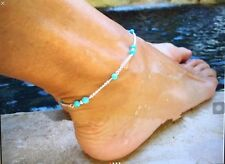 Chain Link Anklet Bracelet Blue Beads jewelry Silver