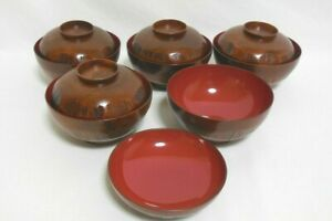 High quality Japanese Lacquered Soup Bowl wooden Handmade Set of 5 From Japan