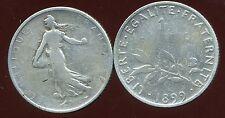 FRANCE  FRANCIA  1 franc semeuse 1899  ARGENT SILVER ( bis )