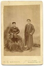Cabinet card smiling boys in cool fashionable coats, Bennington, VT.