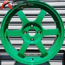 15X6.5 ROTA GRID 4X100 +38 AB GREEN WHEEL FITS CIVIC INTEGRA FIT MINI COOPER