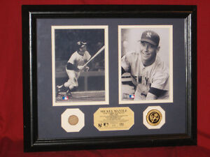 Mickey Mantle Framed Photos with 1961 Game Used Bat & Gold Coin Highland Mint