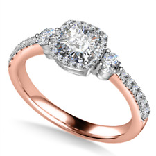 1.50 Crt Cushion Diamond Engagement Ring Solid 14kt Rose Gold Diamond Rings