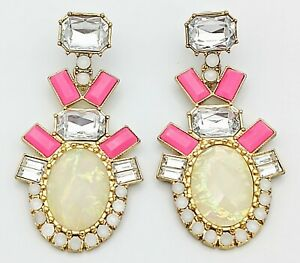 BAUBLEBAR Cut Clear Crystal Pink Enamel Drop Dangle Statement Unique Earrings