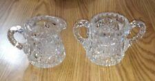 Antique American Brilliant Period Cut Crystal Glass, ABP Sugar & Creamer Set