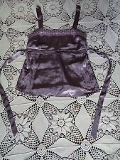 Old navy lavender purple satin pin tuck vintage sexy retro pin up lace tak top S