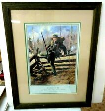 FRAMED COMPANY D 2ND SHARP SHOOTERS CIVIL WAR LITHOGRAPH SIGNED #'D DON TROIANI