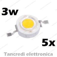 5X Chip led 3W bianco freddo 600mA 3V 3.6V alta luminosità lampadina lampada