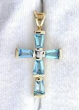 14Kt Yellow Gold Tapered 6x4 Baguette Swiss Blue Topaz Gemstone Cross Pendant
