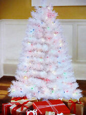 CHRISTMAS TREE INDIANA SPRUCE 4FT PRE LIT MULTI COLORED WHITE TREE