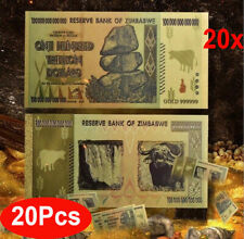 20x Zimbabwe 100 Trillion Dollars Color 24K Gold bil FANCY Note, Collection Gift