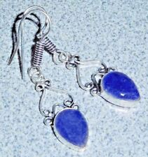 """ARTISAN HANDCRAFTED NATURAL RAW-CUT SAPPHIRE STONE 925 SILVER EARRINGS ~ 2"""""""