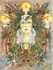 "LINDA RAVENSCROFT ORIGINAL ""Winter's Light"" FAIRY folklore spirit queen PAINTING"