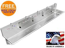 """Multi Station 5 Hand Sink 120"""" Manual Faucets (2) 2"""" Npt Drains Made In America"""