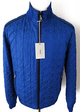 $3675 NWT BRIONI Blue Quilted Reversible Silk Jacket Bomber Leather Trim Size XL