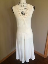 "TOMMY HILFIGER M / L WOMEN'S SWEATER DRESS BEIGE OFF WHITE Knit V Neck 45"" long"