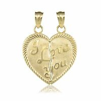 10K Solid Yellow Gold I Love You Half Heart Pendant - Necklace Charm Women Men
