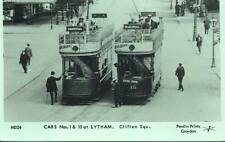 Pamlin repro photo postcard M324 Tram Cars Clifton Square Lytham Blackpool