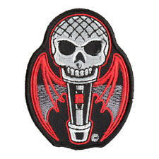 Count Mic-cula Skull & Bat Wings Patch, Microphone Patches