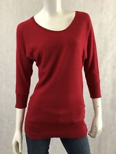 DKNYc RED Women 3/4 Sleeve Thin Knit Sweater Size Small S