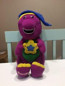 """Vintage 1999 Playskool Twinkle 'n Dream Barney 14"""" Bed Time Plush W/ Hat WORKS!"""