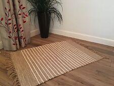 ❤️Beige & White Pin Stripe Cotton & Jute Rug Fringing 60 x 90cm Small Flat Weave