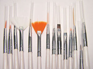 14 Assorted Paint Brushes for Nail Art, Detail Painting & Crafts Inexpensive Set